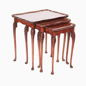 Table Antique en Loupe de Noyer, 1920, Set de 3