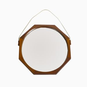 Large Octagonal Teak Wall Mirror, 1960s