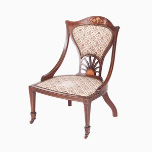 Antique Inlaid Mahogany Ladies Chair
