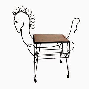 Carrello bar a forma di cavallo su ruote con vassoio e portabottiglie di Frederic Weinberg, anni '50