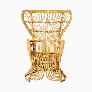 Peacock Stuhl aus Rattan von Rohé Noordwolde, 1950er
