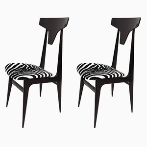 Italian Zebra Patterned Velvet Side Chairs with Ebonized Wood Frames, 1950s, Set of 2