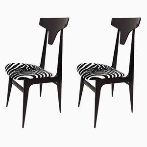 Italienische Beistellstühle mit Samtsitz im Zebramuster & Gestell aus ebonisiertem Holz, 1950er, 2er Set