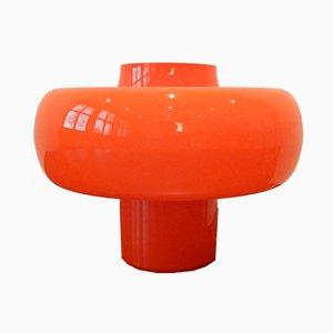 Lámpara de mesa vintage de vidrio naranja, años 60