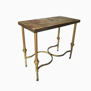 Vintage Bronze and Onyx Console Table
