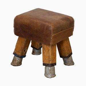 Vintage Leather Gym Stool, 1930s