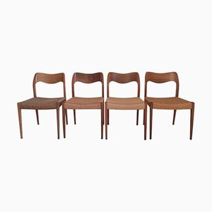 Vintage Danish Model 71 Dining Chairs by Niels O. Moller, Set of 4