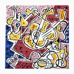 Fliese mit Gitarren-Motiv von Salvador Dali, 1954