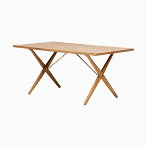 Model AT-303 Saw Horse Oak Dining Table by Hans J. Wegner for Andreas Tuck, 1960s