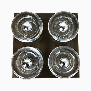 Applique in metallo e vetro di Cosack, Germania, anni '70