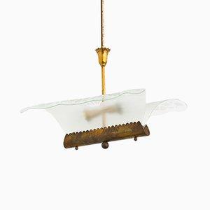 Lampada da soffitto vintage in ottone e vetro, Italia, anni '40