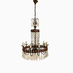 Vintage Murano Glass & Crystal Crown Chandelier, 1930s