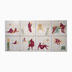 Mattonelle in ceramica di Gio Ponti per Richard Ginori, set di 8