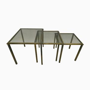 Vintage Brass Nesting Tables, 1960s