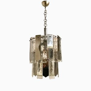 Mid-Century Murano Glass & Chrome Ceiling Lamp