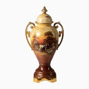 Vase Antique Peint à la Main avec Couvercle de Falcon, Angleterre