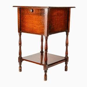 Vintage English Oak Square Side Table