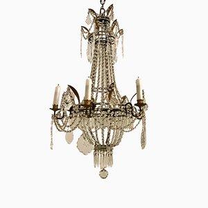 Antiker französischer Macaroni Kronleuchter aus Kristallglas