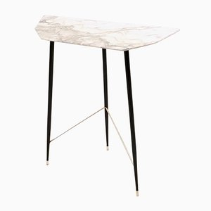 Italian Demi-Lune Carrara Marble Console Table, 1950s