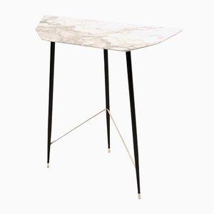 Italienischer Halbmond-Konsolentisch mit Tischplatte aus Carrara Marmor, 1950er