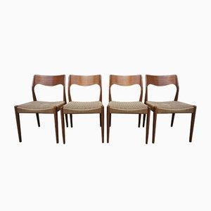 Chaises de Salon Modèle 71 Mid-Century par Niels Otto (N.O.) Møller, 1950s, Set de 4
