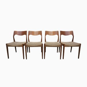 Mid-Century Model 71 Dining Chairs by Niels Otto (N.O.) Møller, 1950s, Set of 4