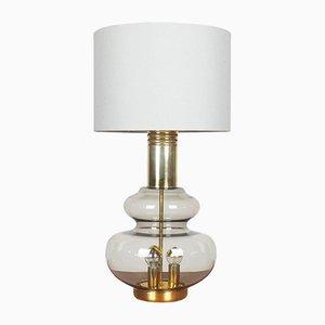 Lámpara de mesa de latón y cristal ahumado de