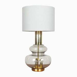 Smoked Glass & Brass Table Lamp from Doria Leuchten, 1960s