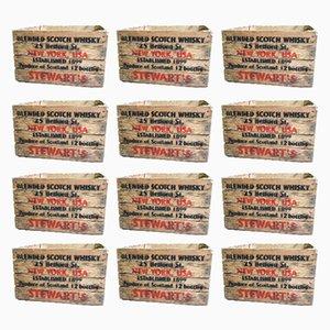 Casse vintage in legno, anni '80, set di 12