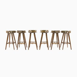Mid-Century French Wooden Bar Stools, 1960s, Set of 6