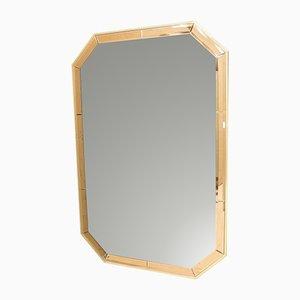 Espejo de pared octogonal con borde de vidrio facetado de Schöninger, años 60