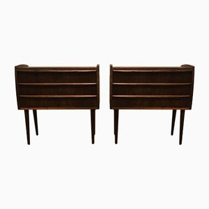 Vintage Danish Rosewood Bedside Tables, Set of 2