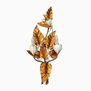 Vintage Metal Leaf & Floral Wall Lamp, 1970s