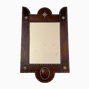 Französischer Art Deco Spiegel mit braunem Lederrahmen von Jacques Adnet, 1920er