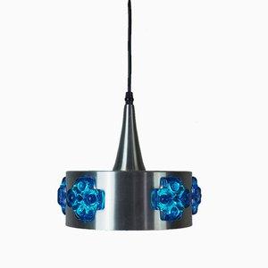 Lampada a sospensione vintage in alluminio e cristallo blu, anni '60
