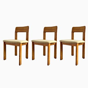 Mid-Century German Striped Oak Chairs from Lübke, Set of 3, 1960s