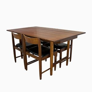 Mid-Century Danish Teak Drop-Leaf Dining Table & 4 Chairs, 1960s