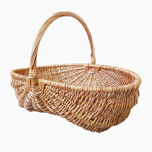 Vintage French Wicker Basket, 1970s