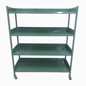 Vintage Italian Green Iron 4-Tier Trolley, 1970s