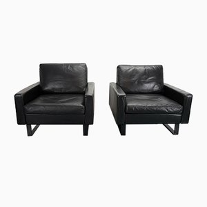 Black Leather Conseta Lounge Chairs by F.W. Moller for Cor, 1970s, Set of 2