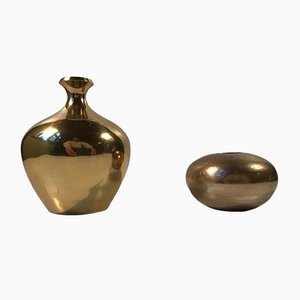 Mid-Century Scandinavian Brass Vases, Set of 2
