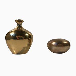 Vases Mid-Century Scandinave en Laiton, Set de 2