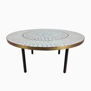 Tavolino da caffè rotondo con mosaico di Berthold Muller, anni '50