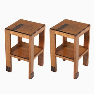 Art Deco Haagse School Pedestal Tables by P.E.L. Izeren for Genneper Molen, Set of 2