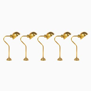 Brass Lamps, 1950s, Set of 5