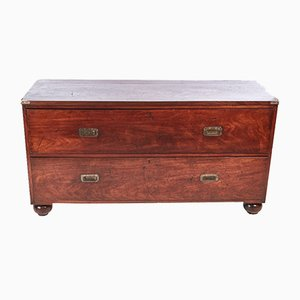 Large Victorian Mahogany Military Chest, 1860s