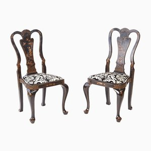 Chinoiserie Lacquered Decorated Desk Chairs, 1900s, Set of 2
