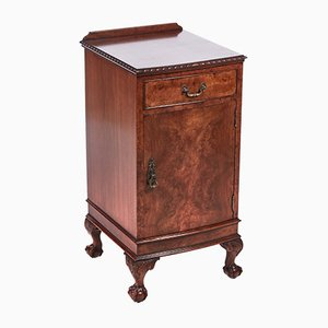 Burr Walnut Bow Fronted Bedside Cabinet, 1920s