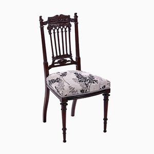Antique Carved Mahogany Side Chair, 1880s