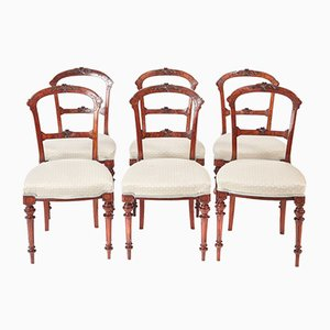 Quality Victorian Walnut Dining Chairs, 1870s, Set of 6